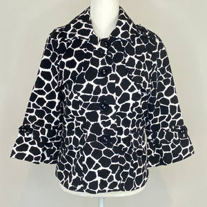 Vintage Y2K Notations Size Small Black & White 100% Cotton Cow Print Jacket